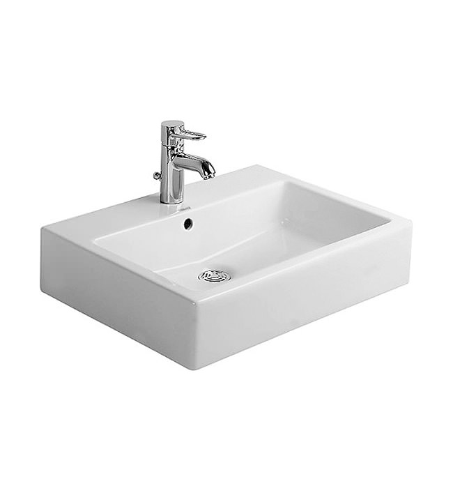 duravit vero white 600 x 470mm 1 tap hole basin 0454600000. Black Bedroom Furniture Sets. Home Design Ideas