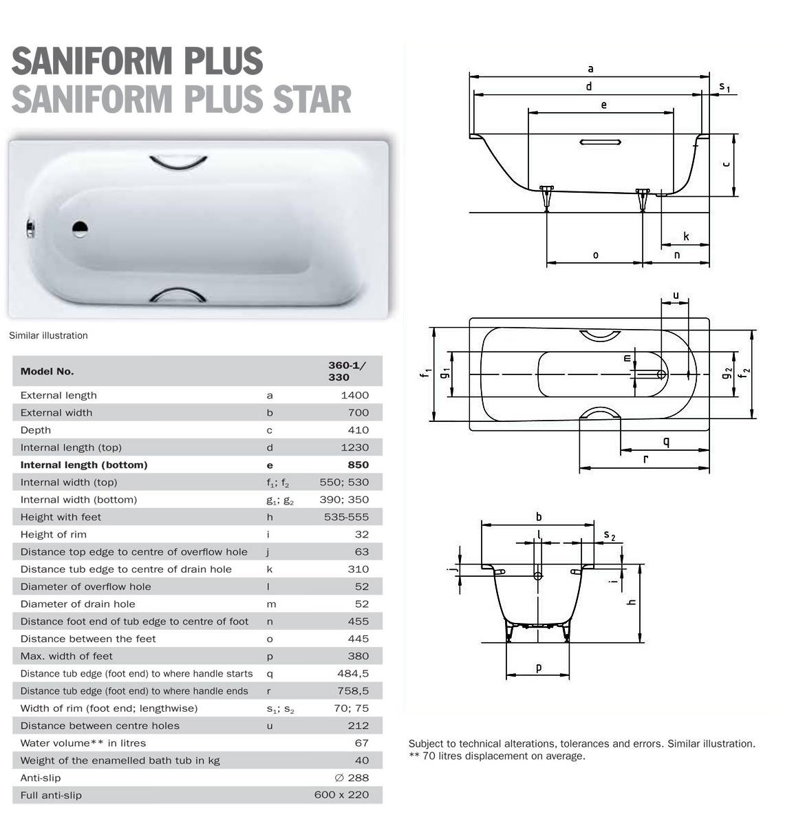 kaldewei saniform plus 360 1 steel bath 1400 x 700mm. Black Bedroom Furniture Sets. Home Design Ideas