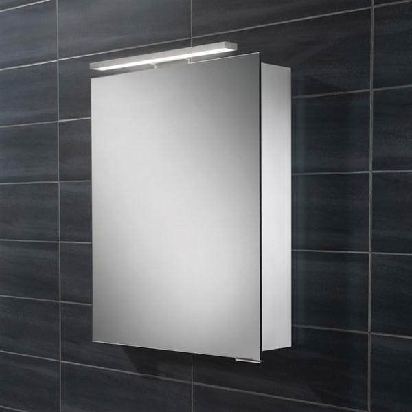Hib proton one door led overlight mirror cabinet 500 x 700 for Bathroom cabinets 500