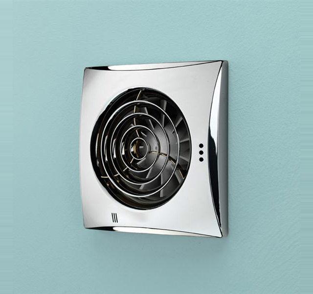 HIB Hush Wall Mounted Chrome Fan With Timer And Humidity Sensor | 33200