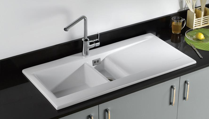 RAK Ceramics Gourmet Dream 1 1 5 Bowl Fireclay Inset Kitchen Sink Reveresib