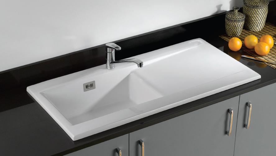 RAK Gourmet Dream 2 Single Bowl Fireclay Inset Kitchen Sink
