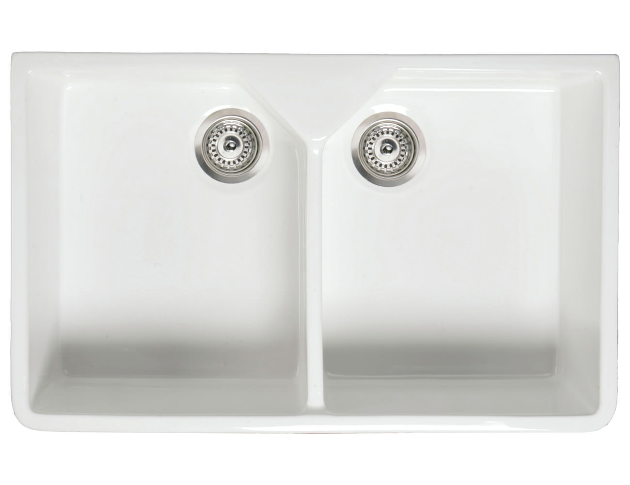RAK Gourmet 10 Belfast Twin Bowl Fireclay Over Or Undermount Sink