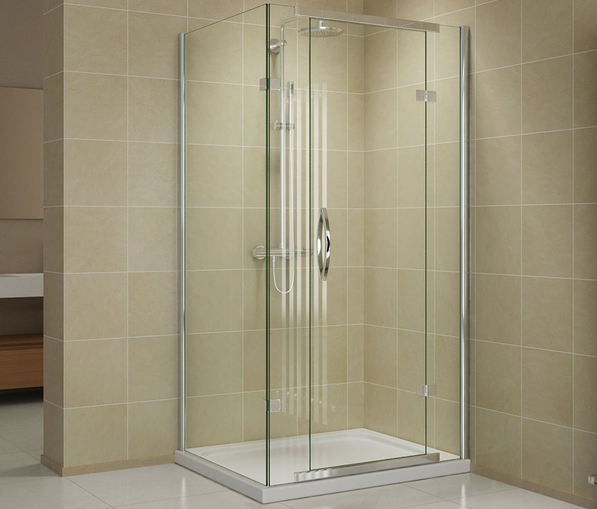 Beo infinite 2 sided hinged door shower enclosure 1200 x for 1200 hinged shower door
