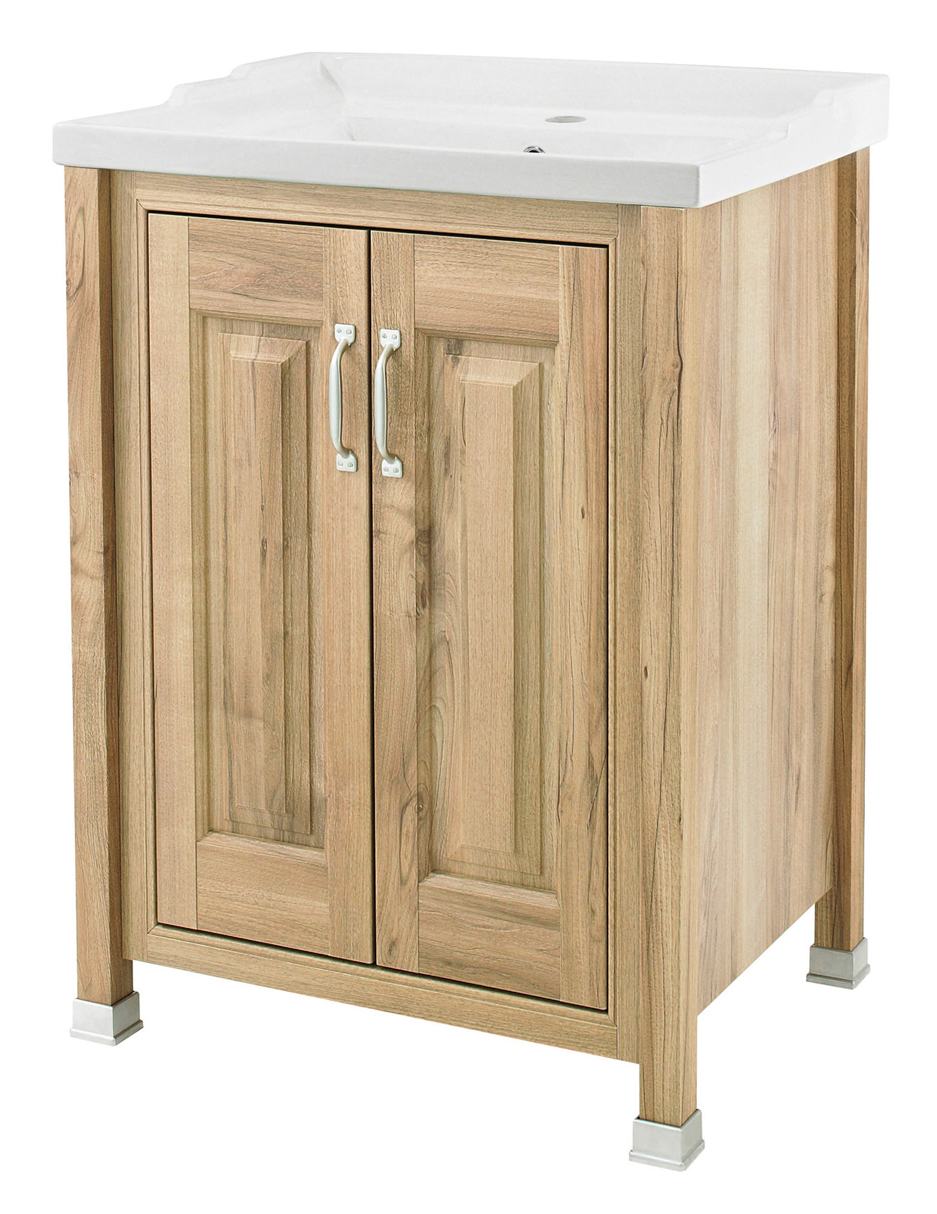 old london natural walnut 600mm vanity unit and inset basin nlv503
