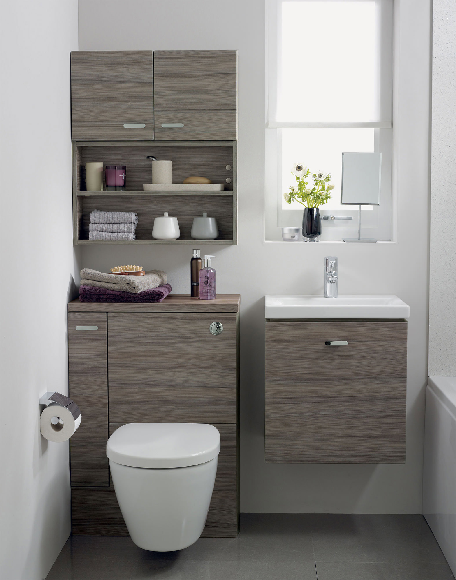 ideal standard concept space wc unit with lh storage cupboard elm. Black Bedroom Furniture Sets. Home Design Ideas