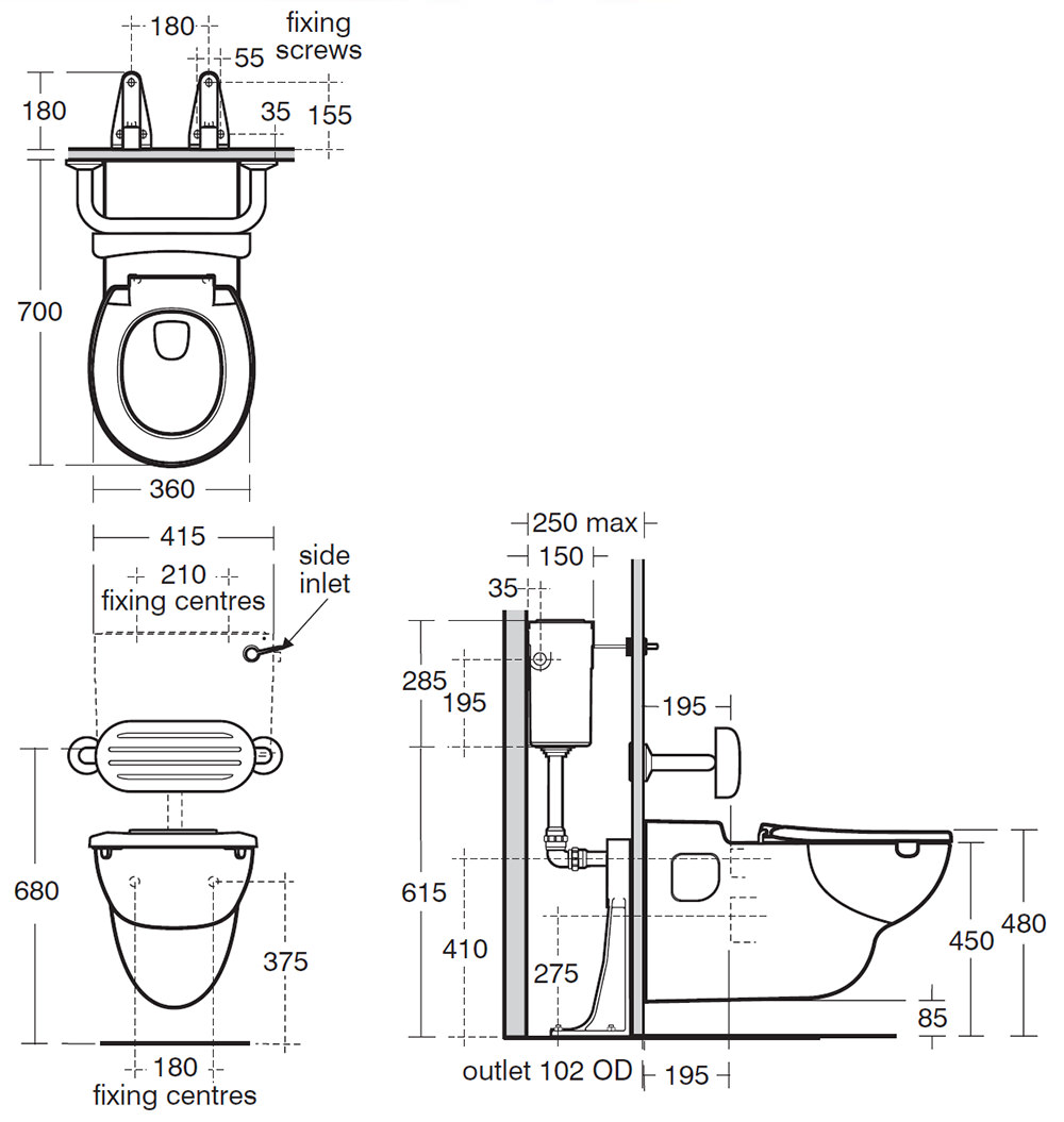 Armitage Shanks Contour 21 Htm64 Rimless Wall Mounted Wc