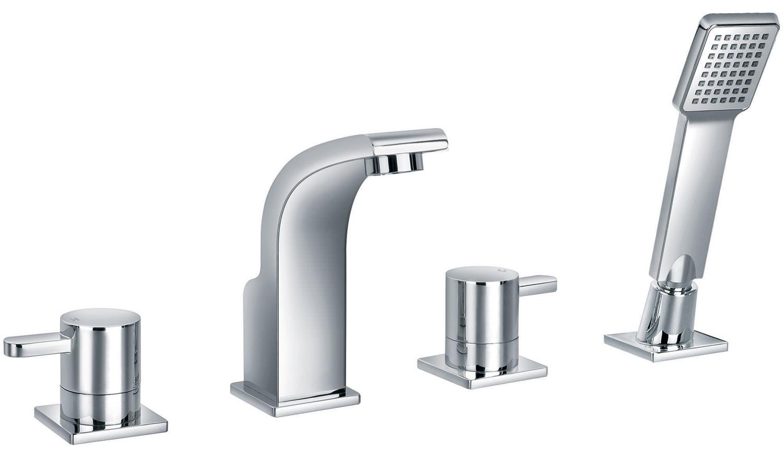 Bath Shower Surround Flova Essence 4 Hole Bath Shower Mixer Tap With Handset