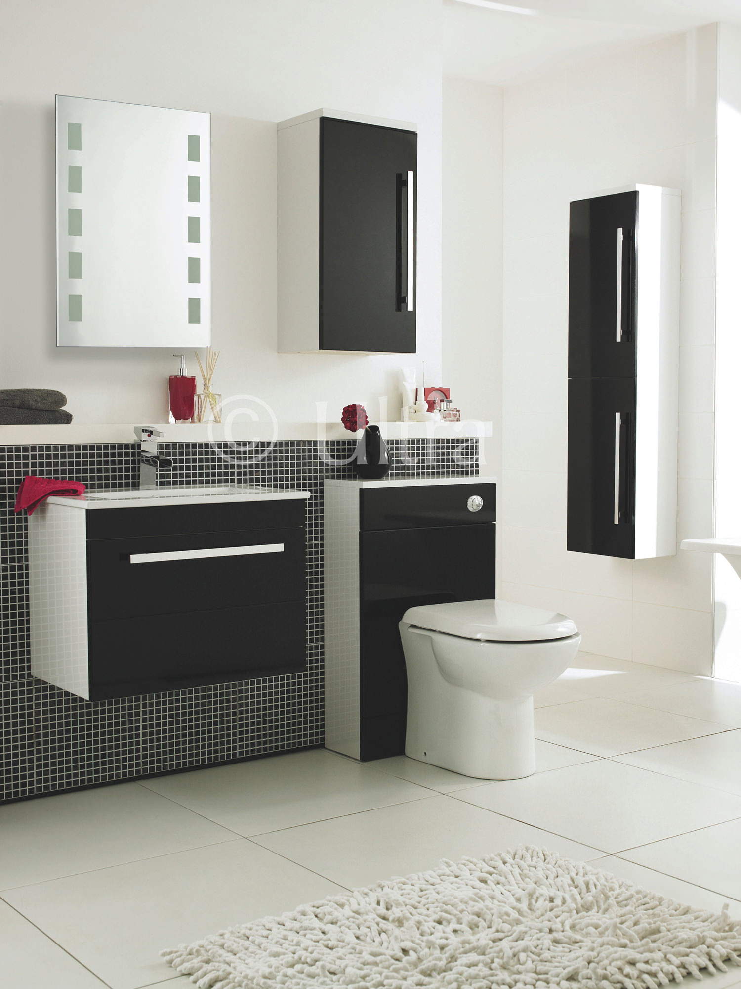 Ultra Design High Gloss Black Back To Wall Unit With Wc Pack