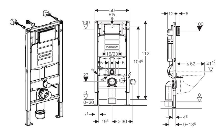 geberit duofix 1120mm wc frame with sigma up320 12cm. Black Bedroom Furniture Sets. Home Design Ideas