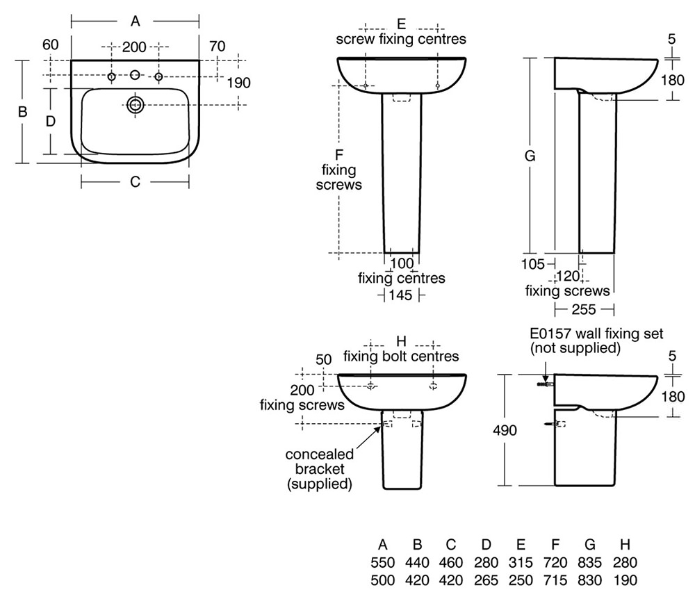 Armitage Shanks Portman 21 500mm 1 Taphole Pedestal Basin