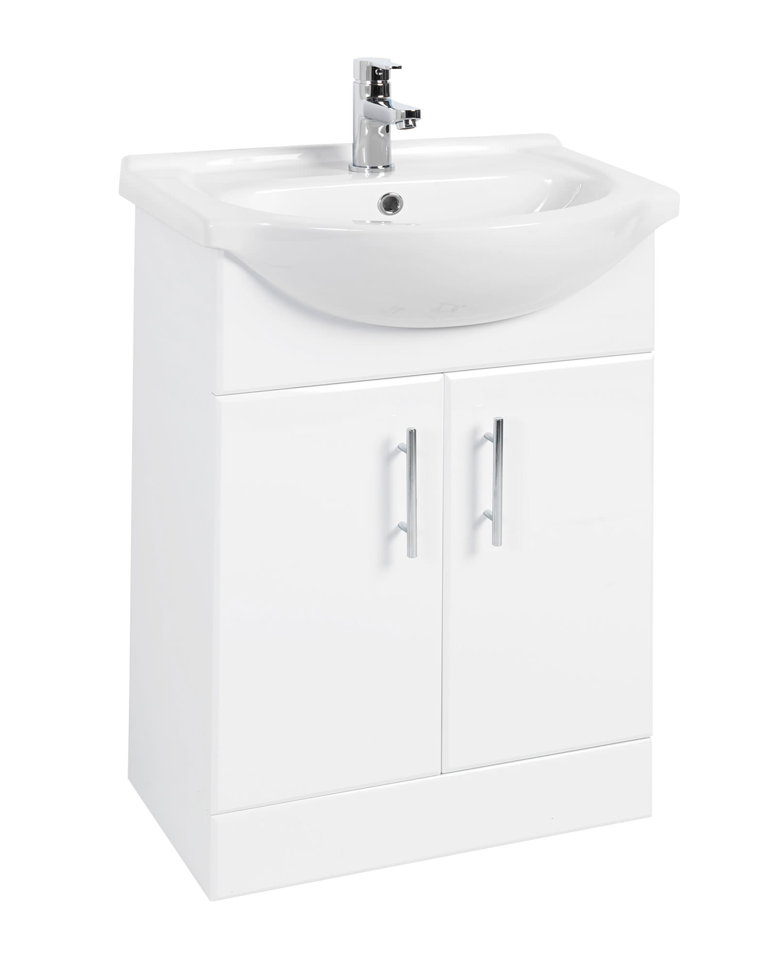 Beo 550mm double door vanity unit and basin high gloss white - High gloss bathroom vanity units ...