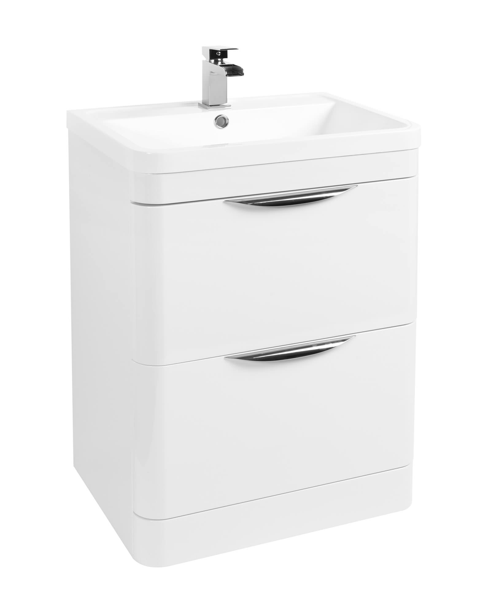 Beo 600mm Floor Standing 2 Drawer Vanity Unit And Basin White
