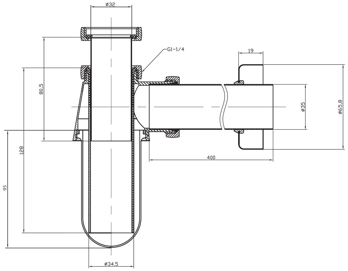 Bauhaus standard bottle trap chrome btr0403c for Bathroom p trap size