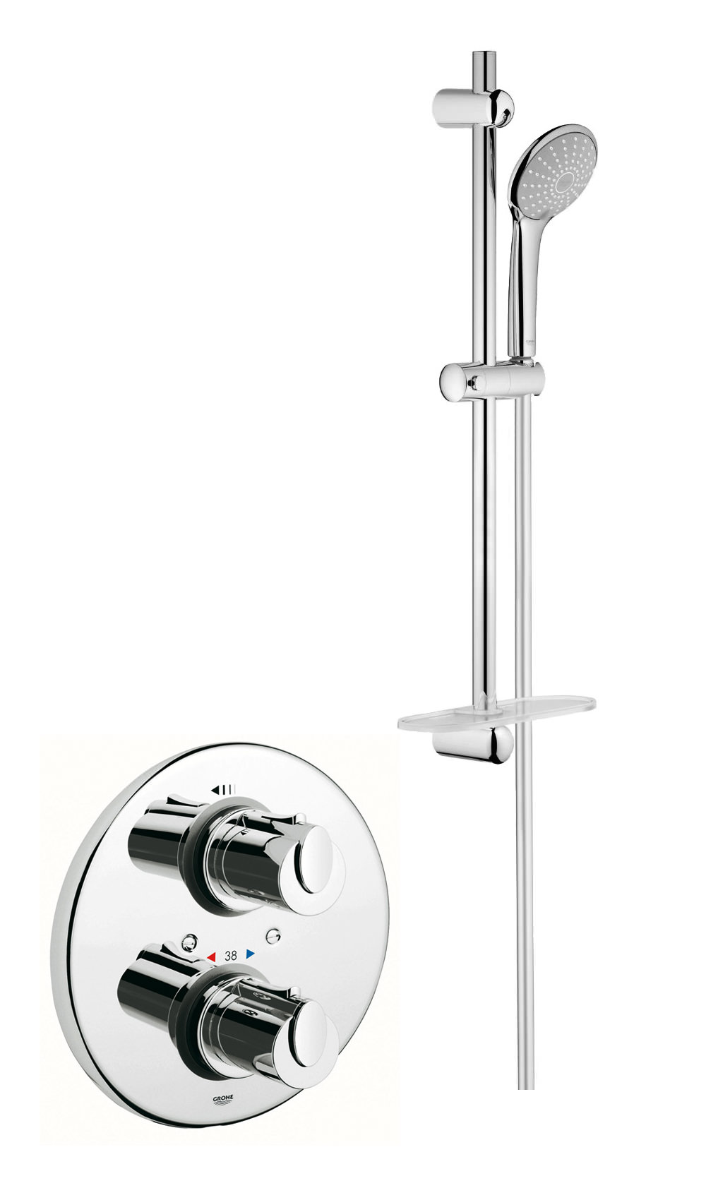 grohe grohtherm 1000 shower set with thermostatic shower valve. Black Bedroom Furniture Sets. Home Design Ideas