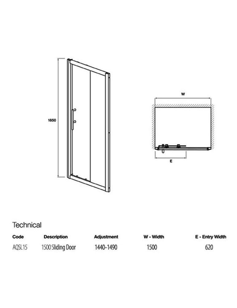 Lauren pacific sliding shower door 1500 x 1850mm aqsl15 for 1500 shower door
