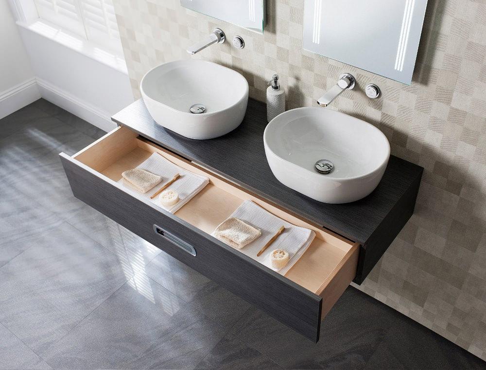 Bauhaus Seattle Mm Wall Hung Console Unit Steel Finish SADST - Bathroom furniture seattle