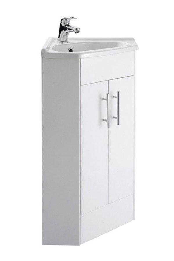Lauren high gloss white 555mm corner vanity unit and basin for White gloss kitchen corner unit