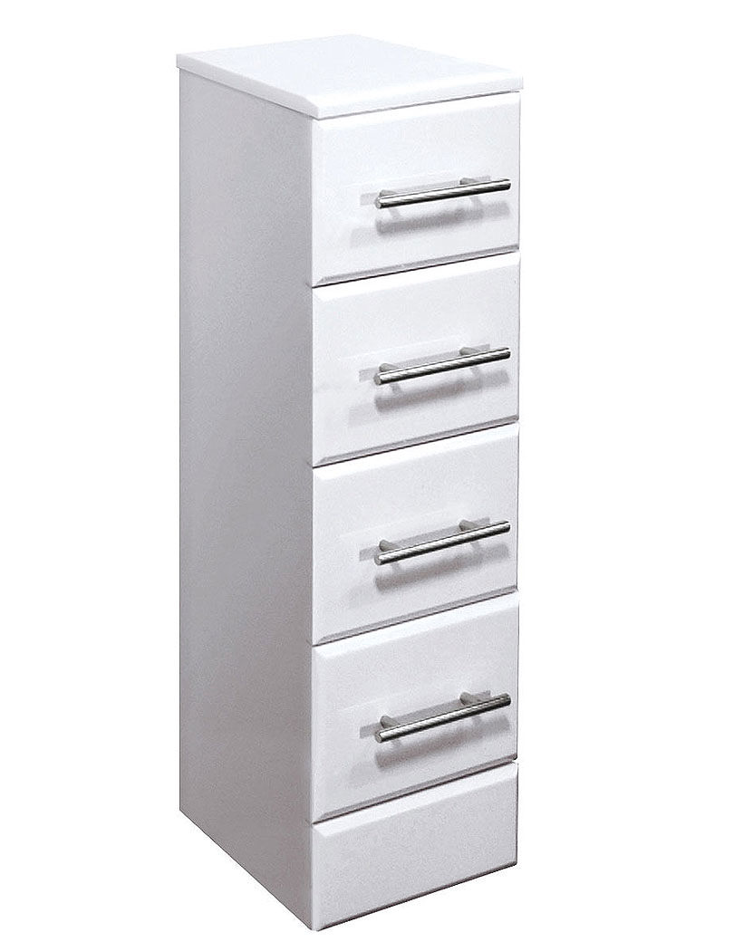 gloss white 4 drawer bathroom storage unit 300 x