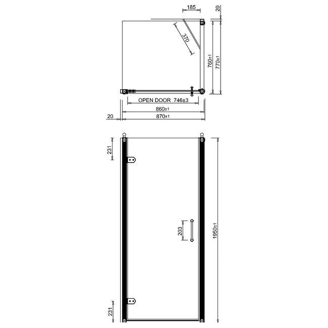 Burlington 900mm Hinged Door And 800mm Side Panel Bu16