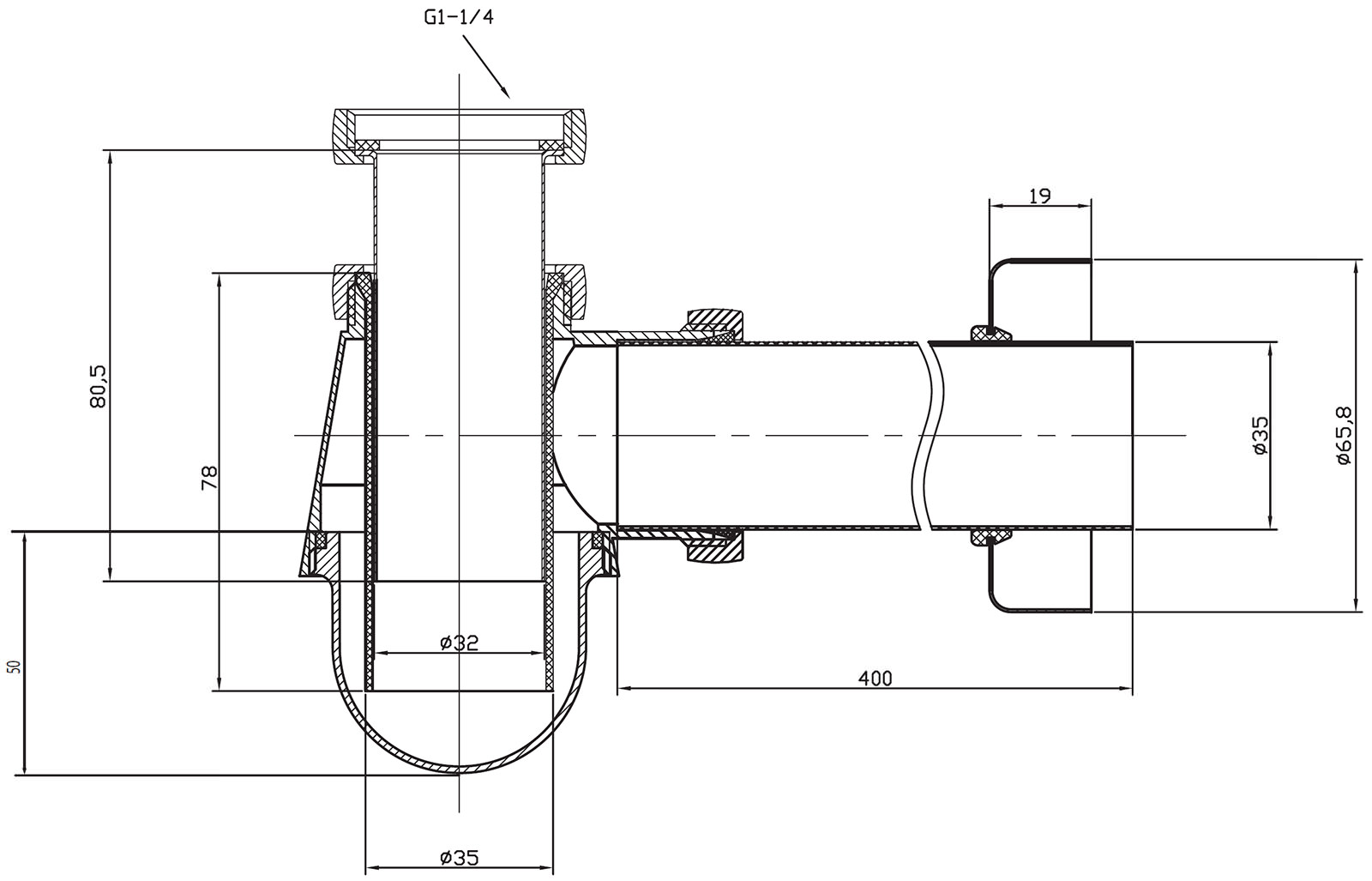 Crosswater Standard Small Bottle Trap With 400mm Pipe