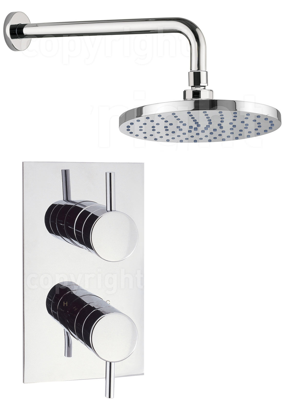 Crosswater Kai Lever Thermostatic Concealed Valve With Shower Head ...