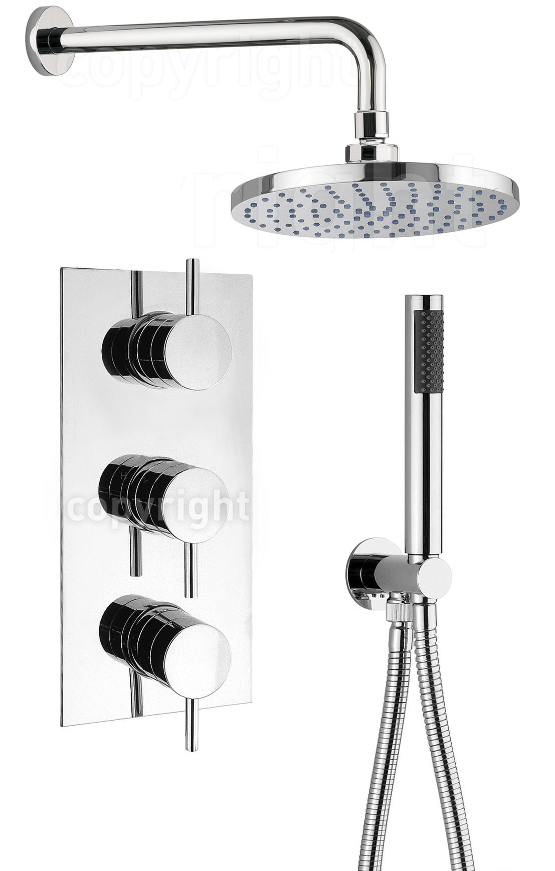 Crosswater Kai Thermostatic 3 Control Overhead And Hand