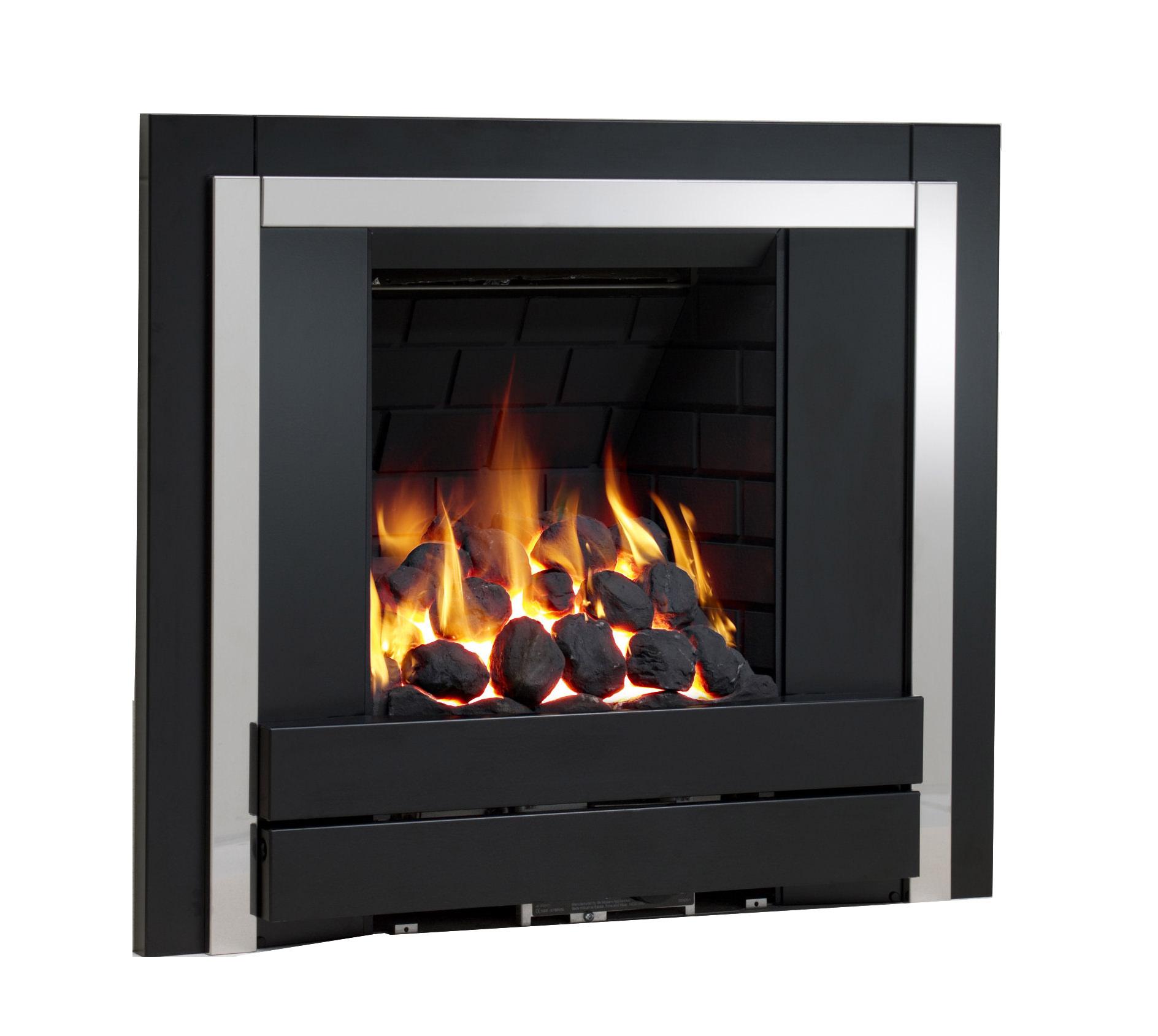 Panoramic Full Depth Inset Gas Fire Brick Black Pebble 32123