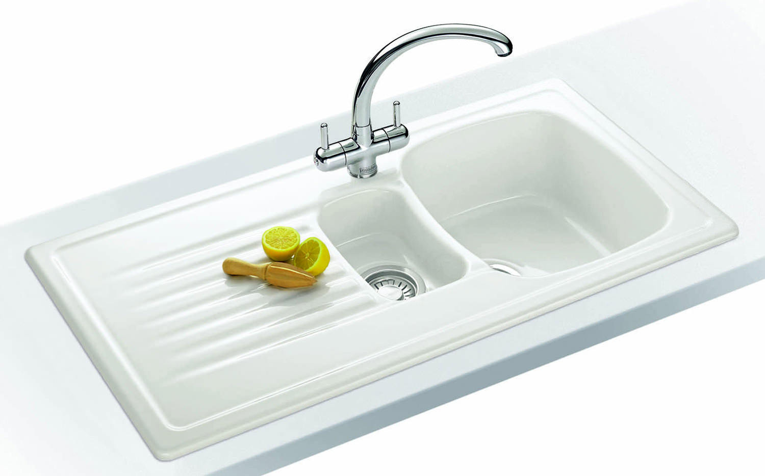 Franke Elba Propack ELK 651 White Ceramic Kitchen Sink And Tap Image