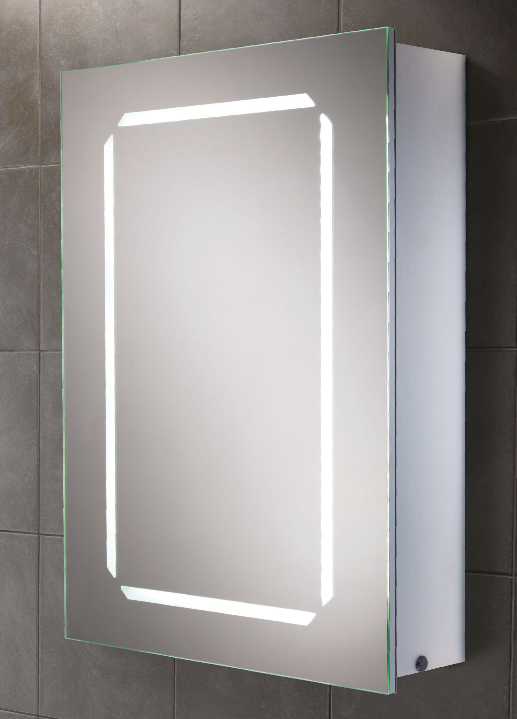 Hib cosmic steam free led back lit aluminium mirrored for Bathroom cabinets led