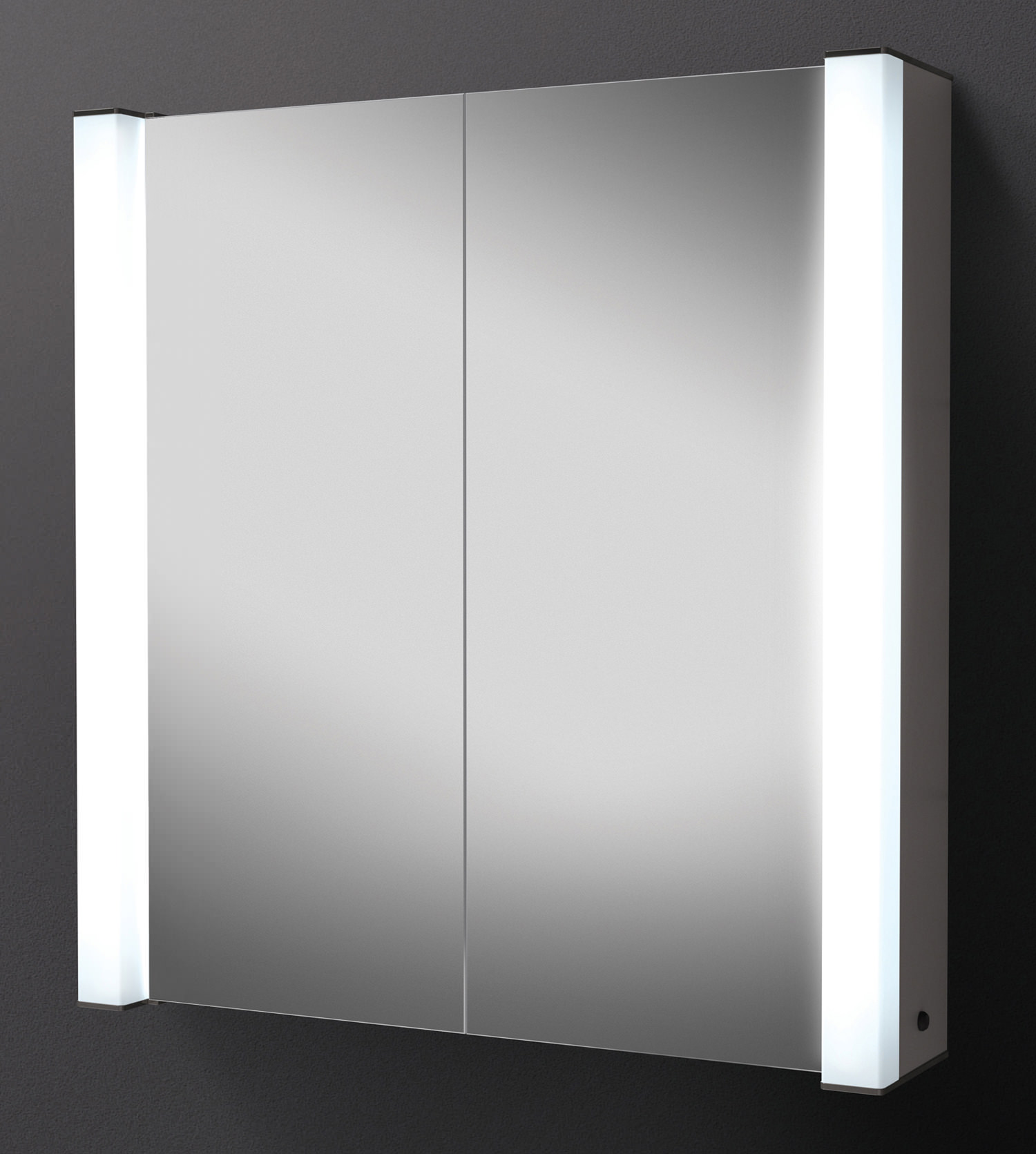 illuminated bathroom mirror cabinet hib photec door illuminated aluminium mirrored 18859