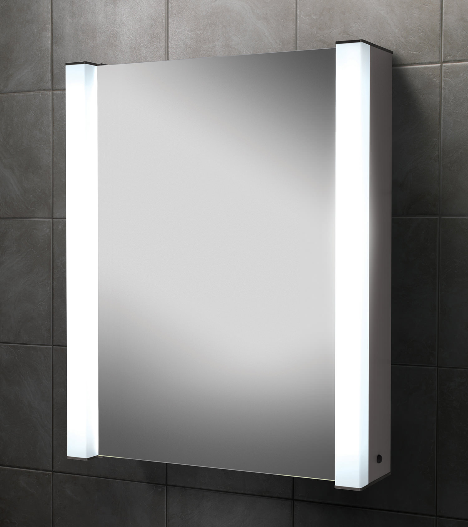 HIB Velocity Single Door Illuminated Aluminium Mirrored Cabinet ...