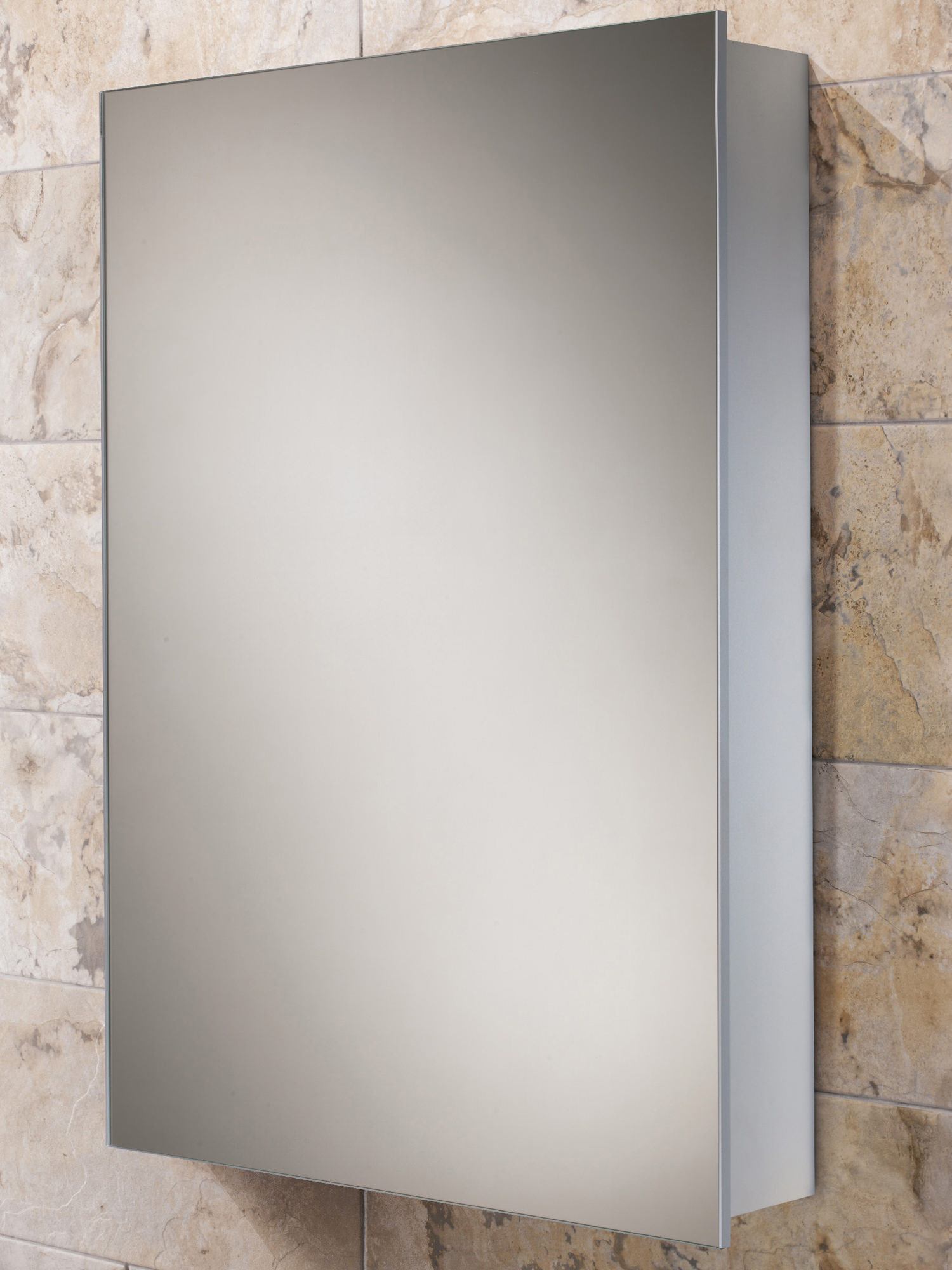 Hib kore slim line aluminium mirror cabinet 400 x 600mm for Slim mirrored bathroom cabinet