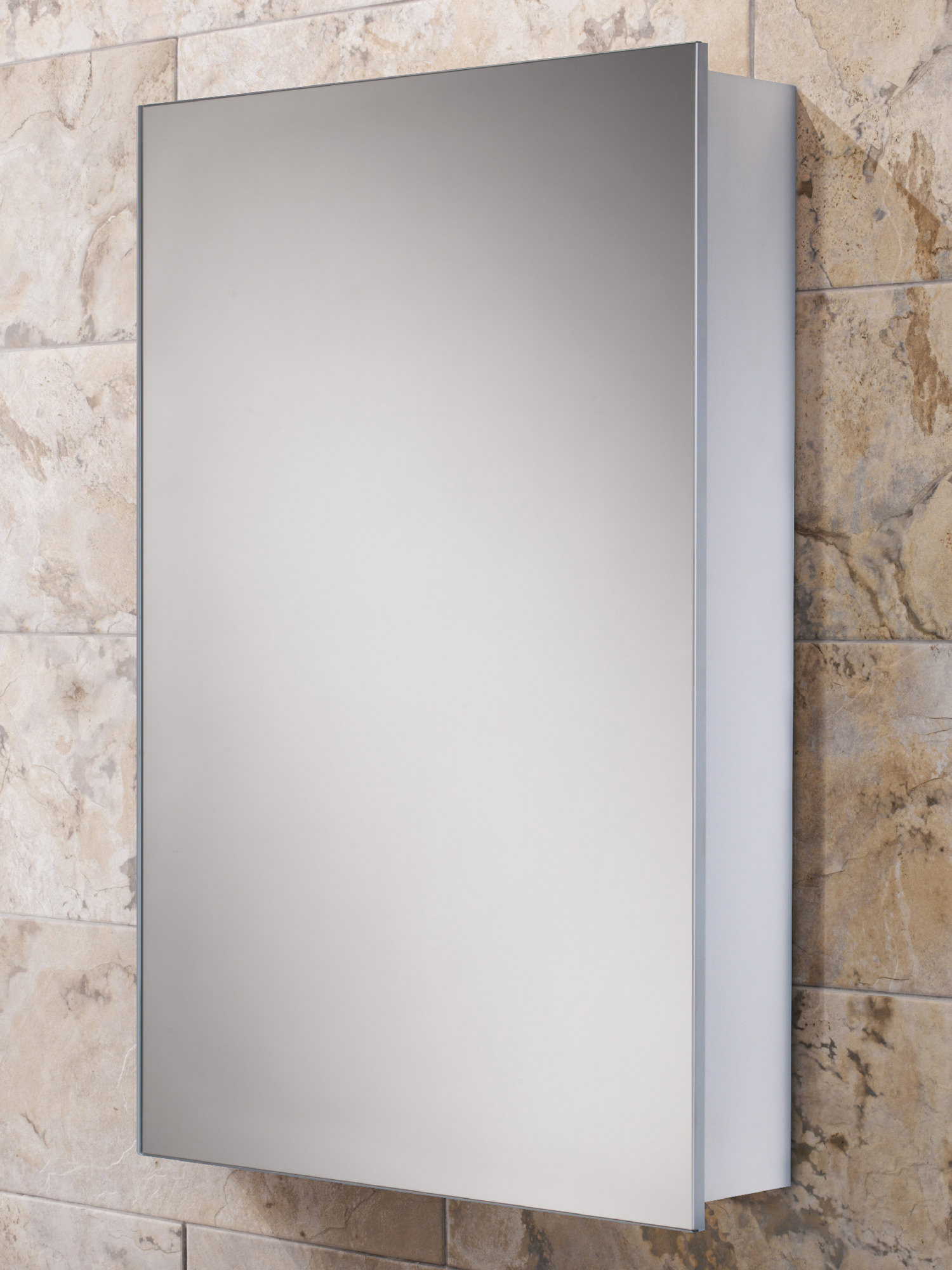 Hib callisto slim line aluminium mirrored cabinet 500 x for Slim mirrored bathroom cabinet