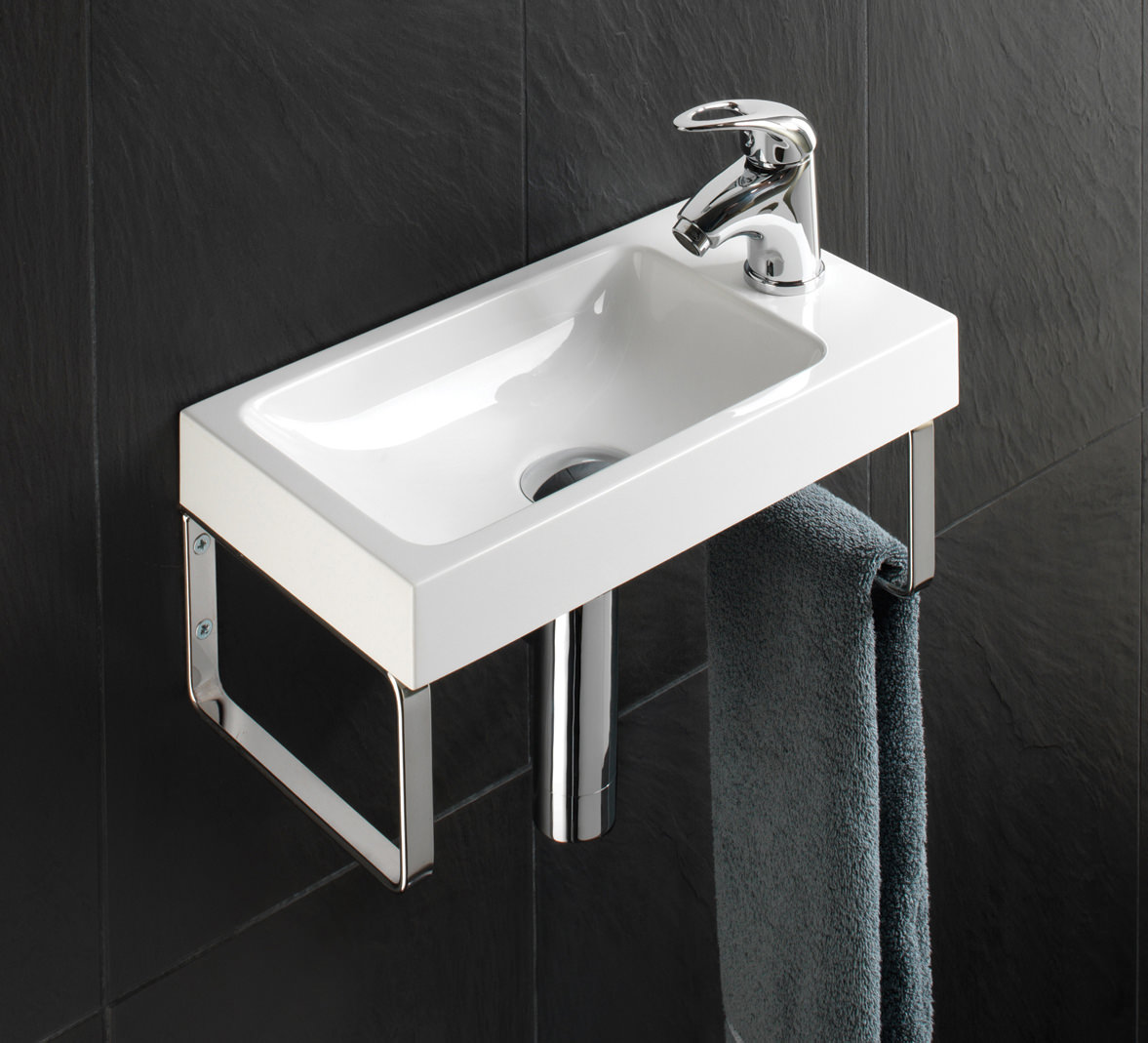 Hib Solo Delta Wall Hung Washbasin 400 X 220mm 8860