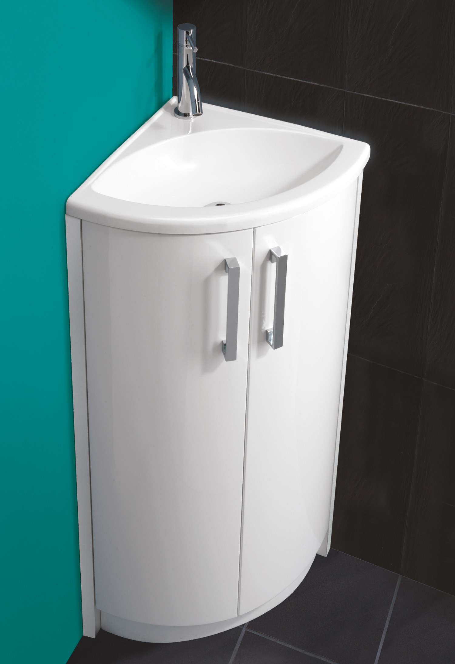Hib Solo White Corner Vanity Unit And Basin 625 X 820mm 9602600