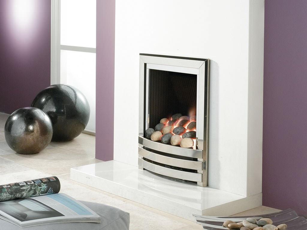 Flavel Linear Power Flue Gas Fire No Chimney Silver Pebble