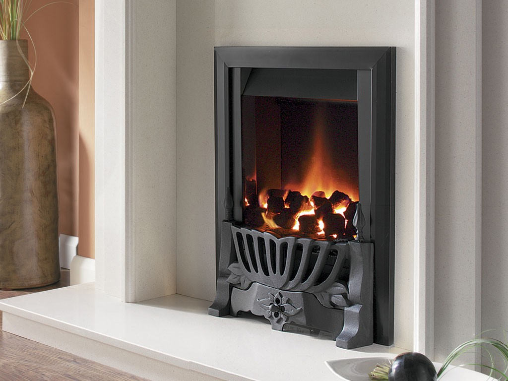 Flavel Warwick Power Flue Inset Gas Fire No Chimney Black