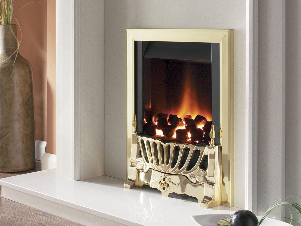 Flavel Warwick Power Flue Inset Gas Fire No Chimney Brass