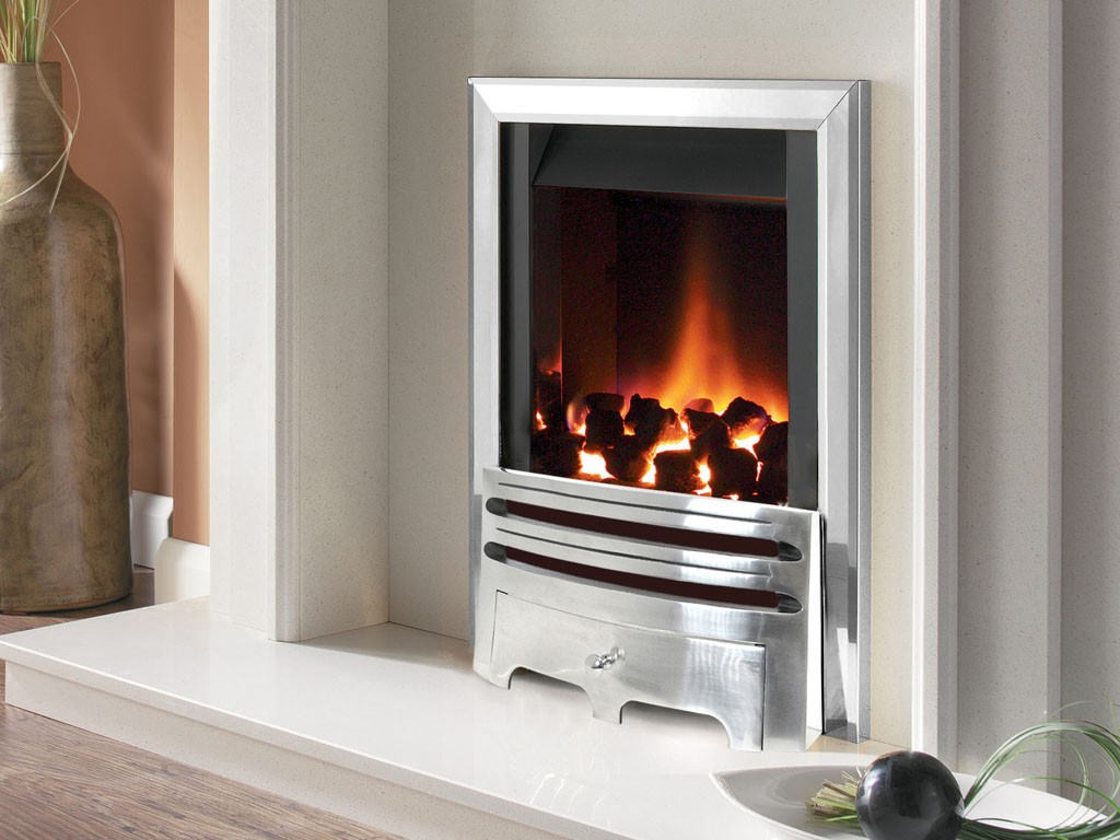 Flavel Warwick Power Flue Gas Fire No Chimney Inset Silver