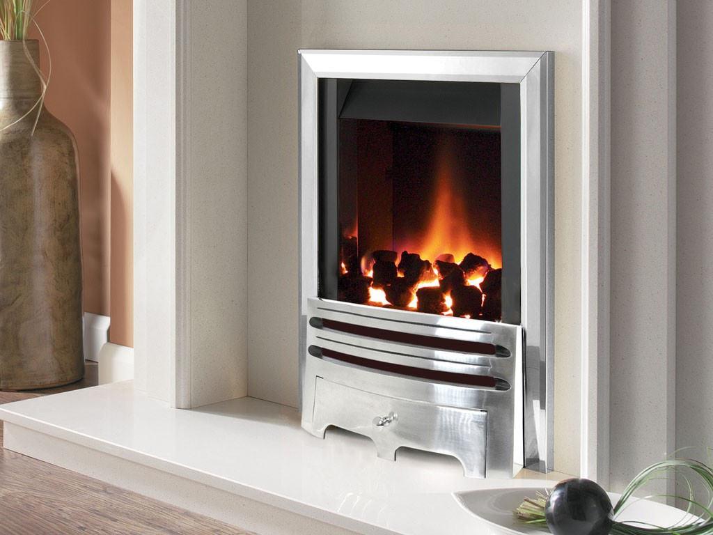 Flavel Warwick Power Flue Gas Fire No Chimney Inset Silver