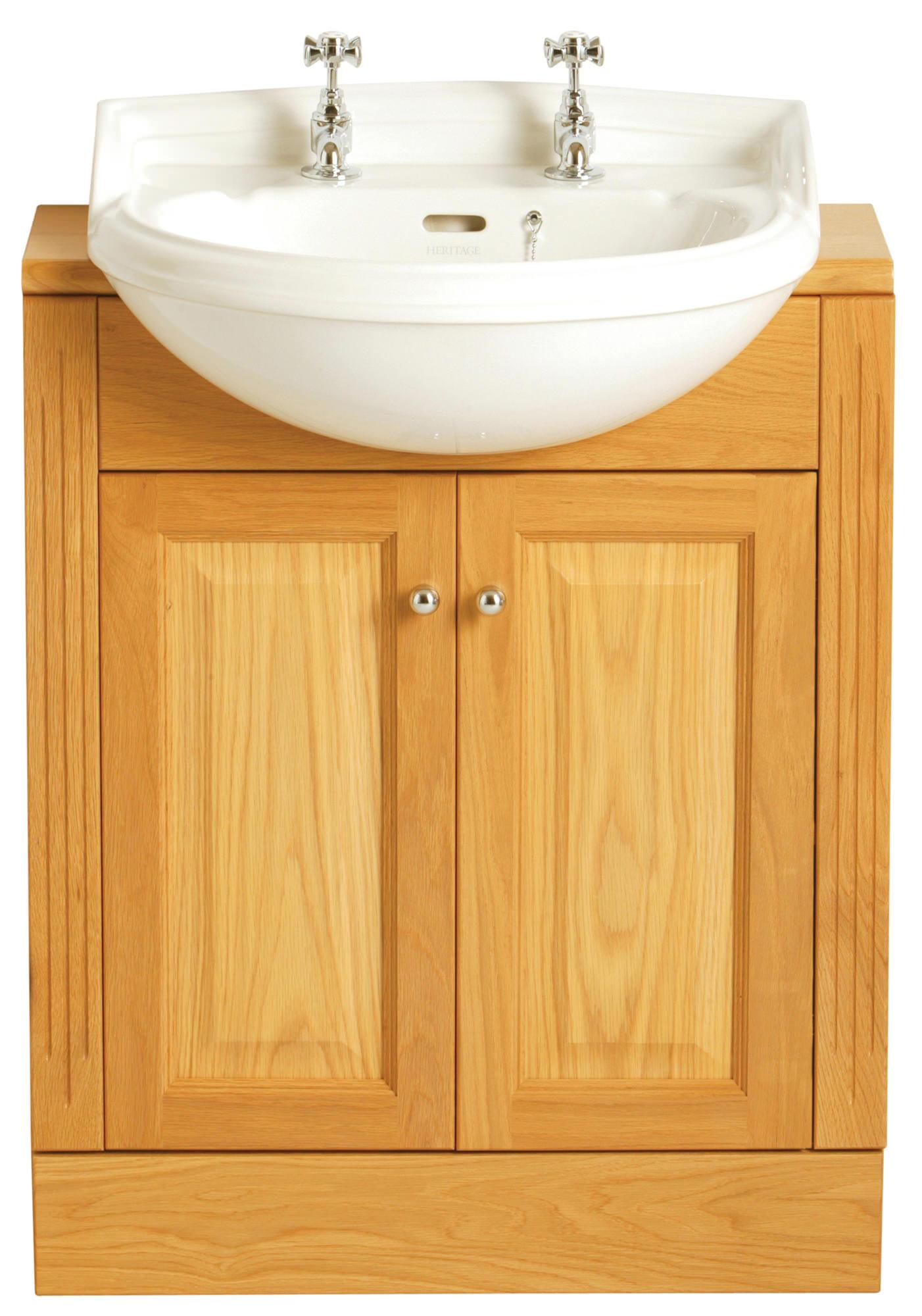 Heritage dorchester 1 taphole medium semi recessed basin for Heritage bathrooms