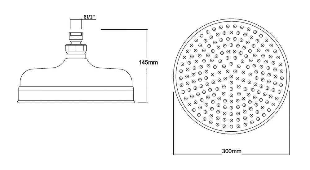 Shower Head Drawing hudson reed 12 inch apron fixed shower head - head16