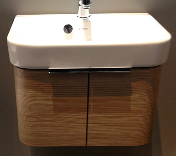 Duravit Wall Hung Basin : Duravit Happy D2 Wall Mounted White Vanity Unit With Basin Image