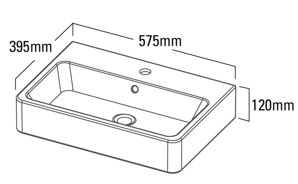 roper rhodes hampton countertop basin 575mm ham560c technical drawing qsv25372 ham560c