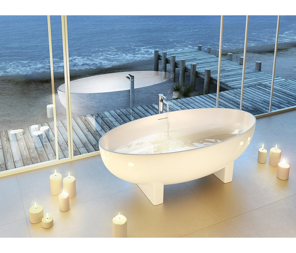 Clearwater Lacrima Natural Stone Freestanding Oval Bath 1690 x 800mm