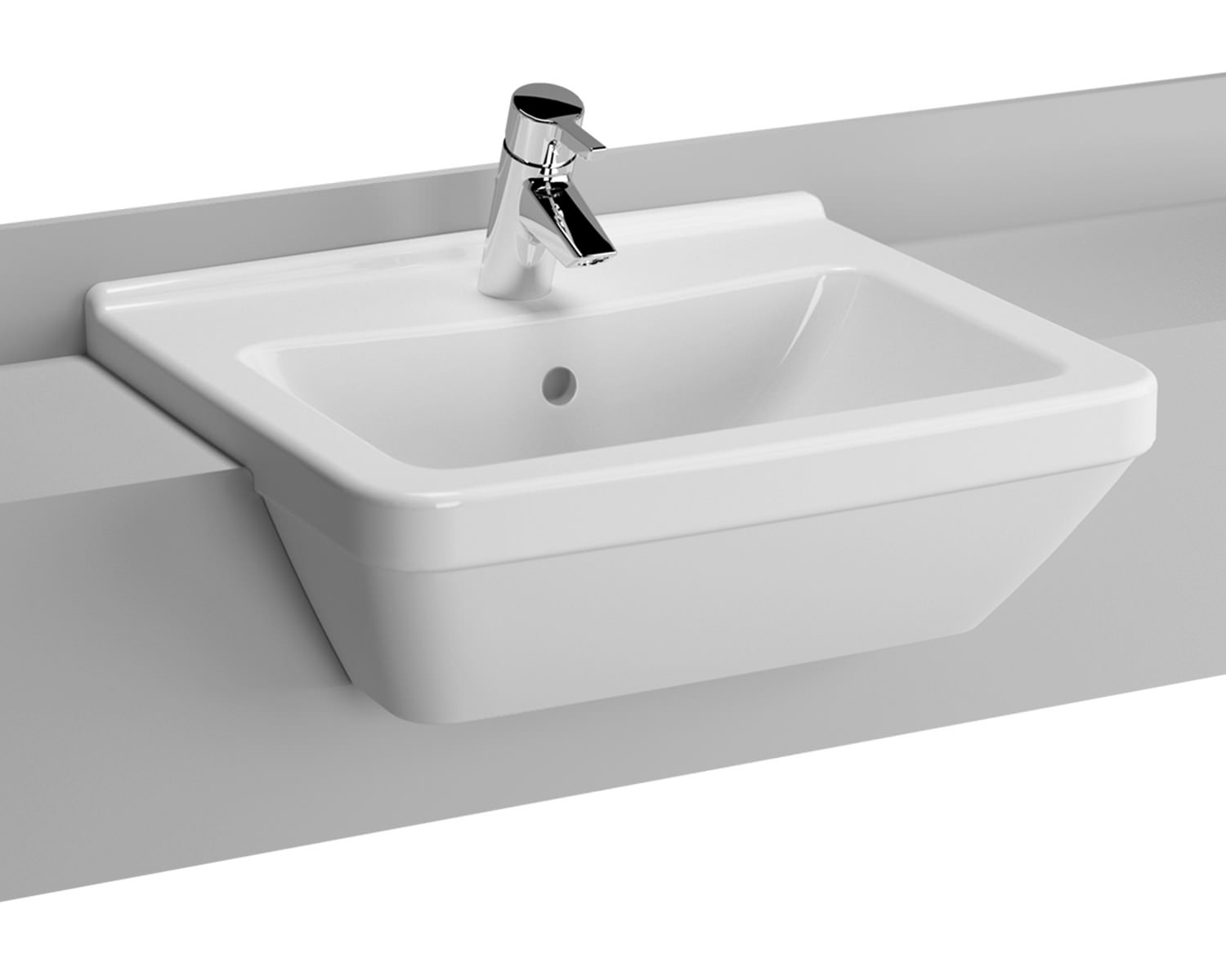 Vitra S50 Square 550mm 1 Tap Hole Semi Recessed Basin