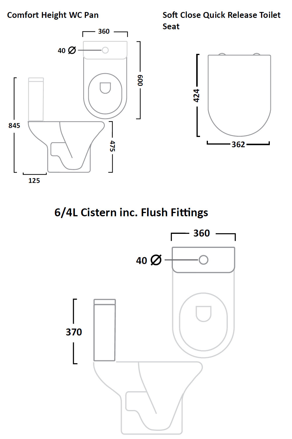 Tavistock Ion Comfort Height 600mm WC With Cistern And Toilet Seat    Technical drawing QS V26813   PC100S. Tavistock Ion Comfort Height 600mm WC With Cistern And Toilet Seat