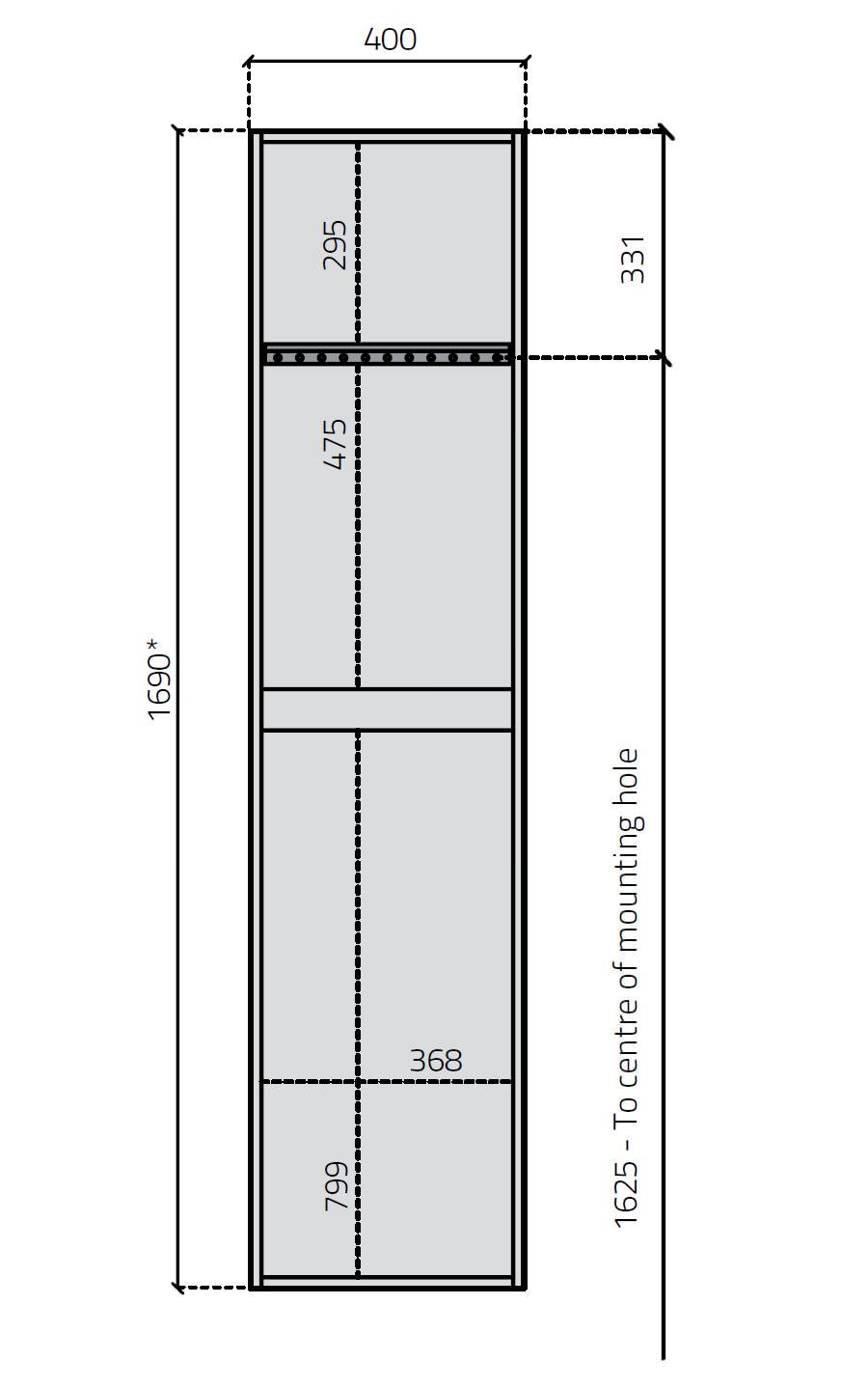 Miller New York Oak Single Door Tall Cabinet 400 X 1690mm