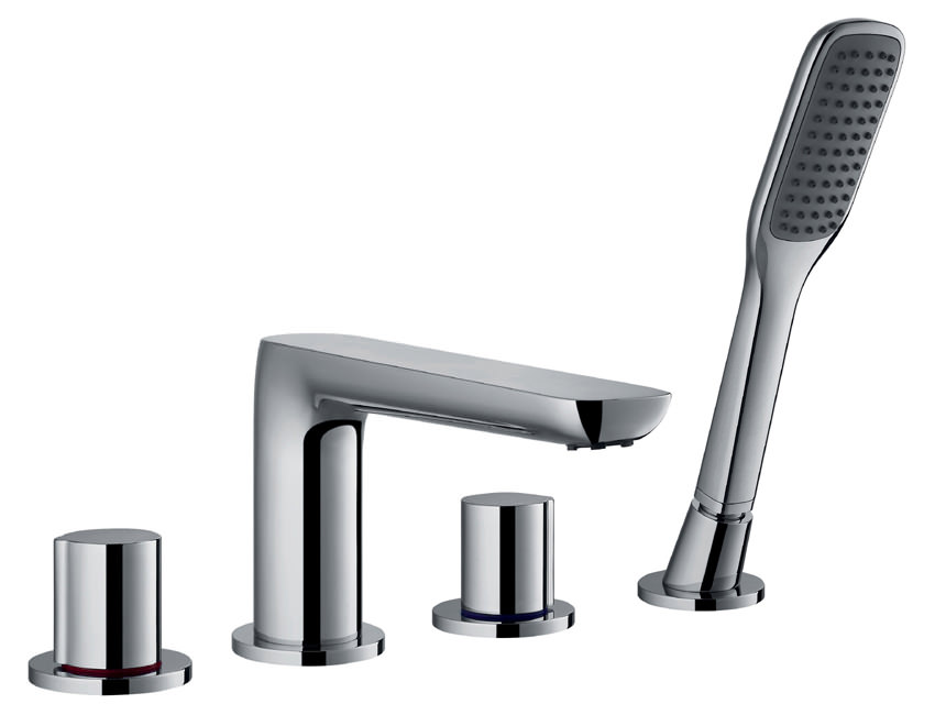 flova allore 4 hole bath shower mixer tap with handset and. Black Bedroom Furniture Sets. Home Design Ideas